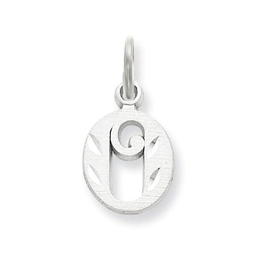 14k White Gold D/C Initial O Charm Pendant