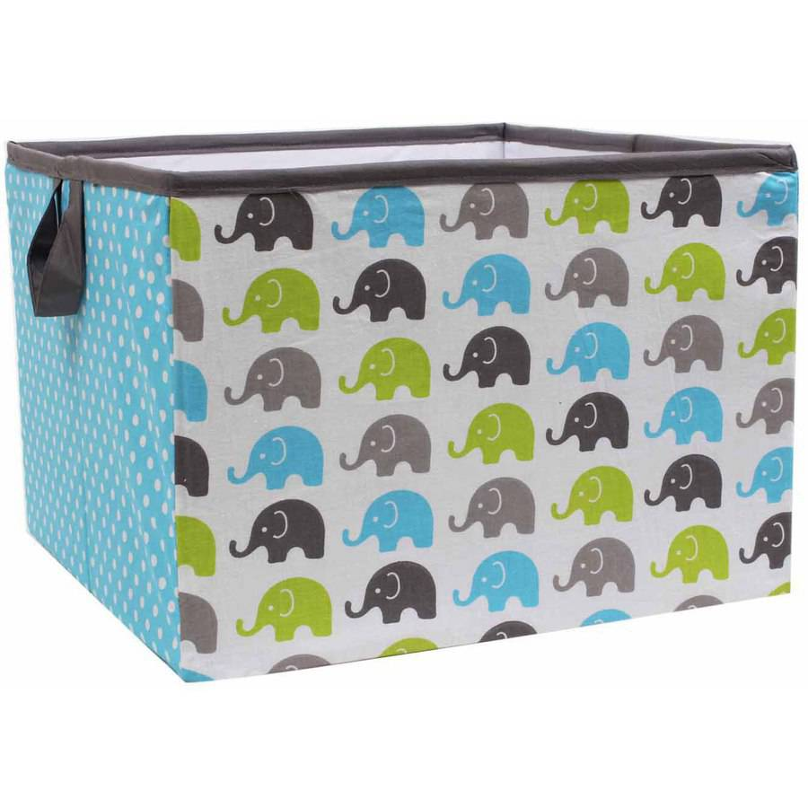 Bacati - Elephants Aqua/Lime/Grey Cotton Percale Fabric covered Storage, Large Box, 14 x 14 x 10 inches
