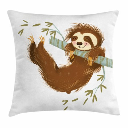 Sloth Throw Pillow Cushion Cover, Happy Cheerful Animal Swinging on Tree Branch Hand Drawn Cartoon Illustration, Decorative Square Accent Pillow Case, 18 X 18 Inches, Brown Khaki Grey, by - Happy Tree Clean Animals