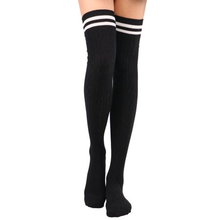 Thigh High Socks Women's Cable Knit Striped Winter Knee High Socks - Striped Thigh High Socks