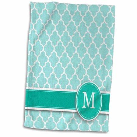 Symple Stuff Leet Personalized Letter Aqua Quatrefoil Monogrammed Hand Towel (Cheap Monogram Stuff)