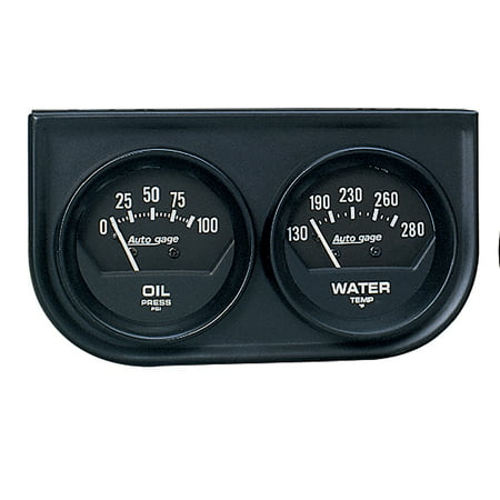 Pressure Gauge Console - AUTO METER 2345 2IN 2 GAUGE CONSOLE, OIL/ WATER, MECH, BLACK