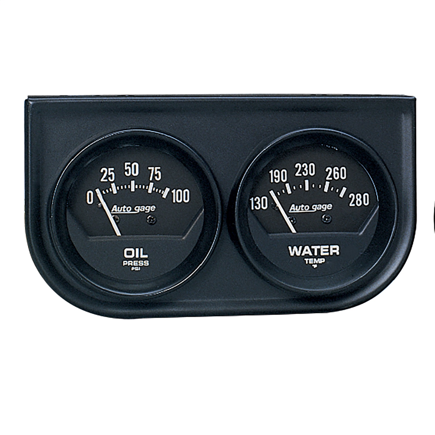 AUTO METER 2345 2IN 2 GAUGE CONSOLE, OIL/ WATER, MECH, BLACK