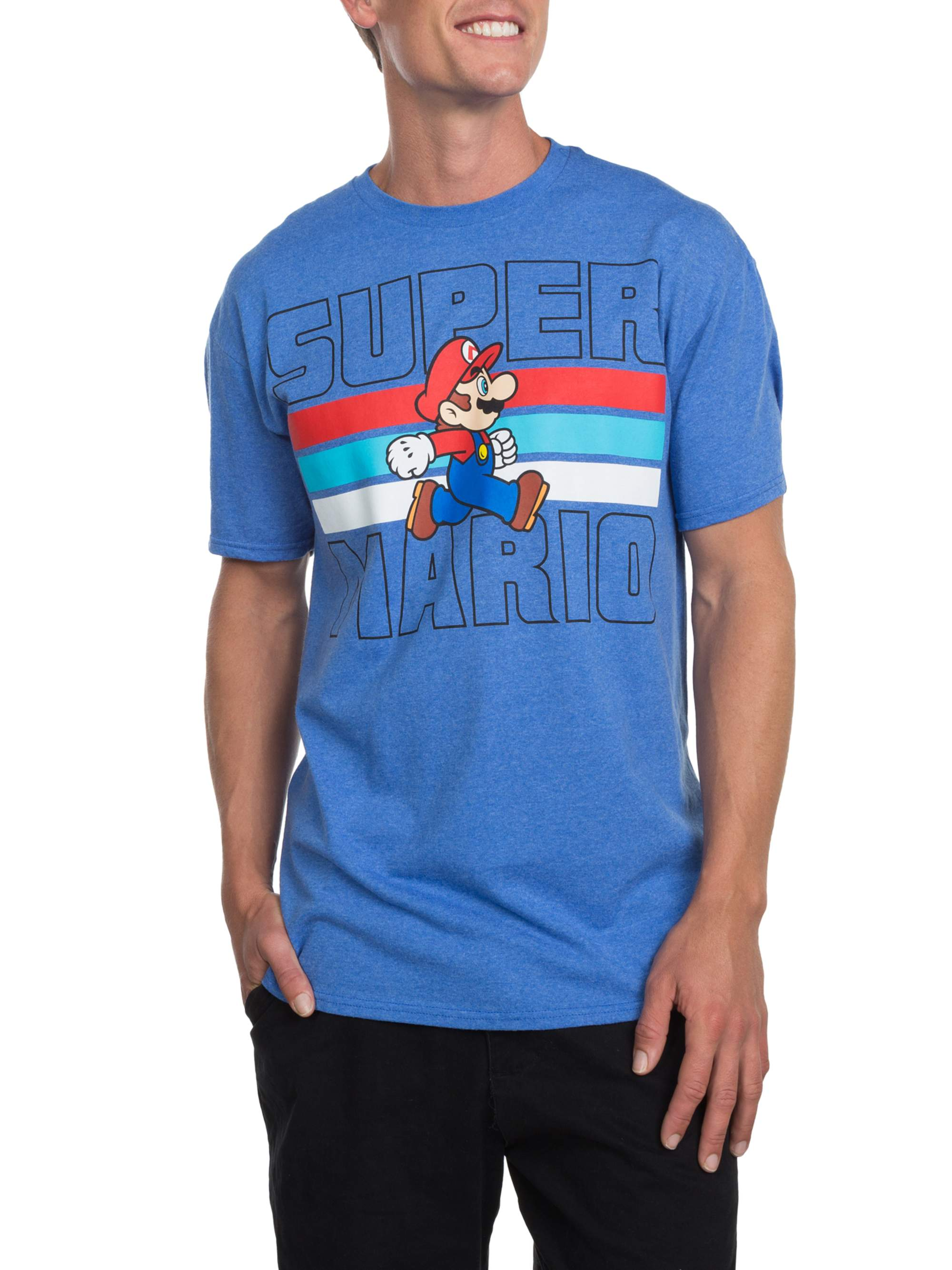 Super Mario Americana Men's Short Sleeve T-shirt, up to Size 3XL