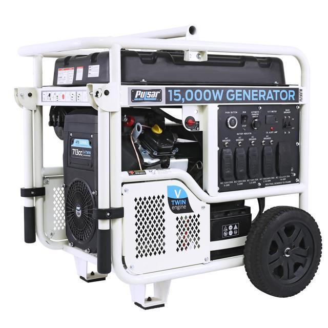 PULSAR Products PG15KVTW V-Twin 15,000W Peak/12,000W Rated Portable Gas-Powered Generator with Electric Push Start