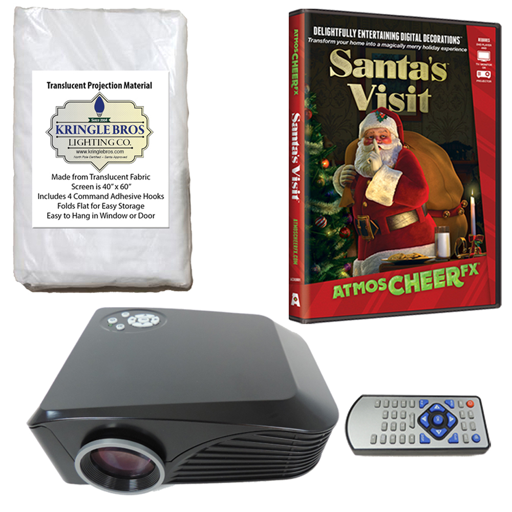 christmas digital decoration kit includes 800 x 600 resolution projector kringle brothers high resolution window rear projection screen and atmoscheerfx - Christmas Digital Decorations