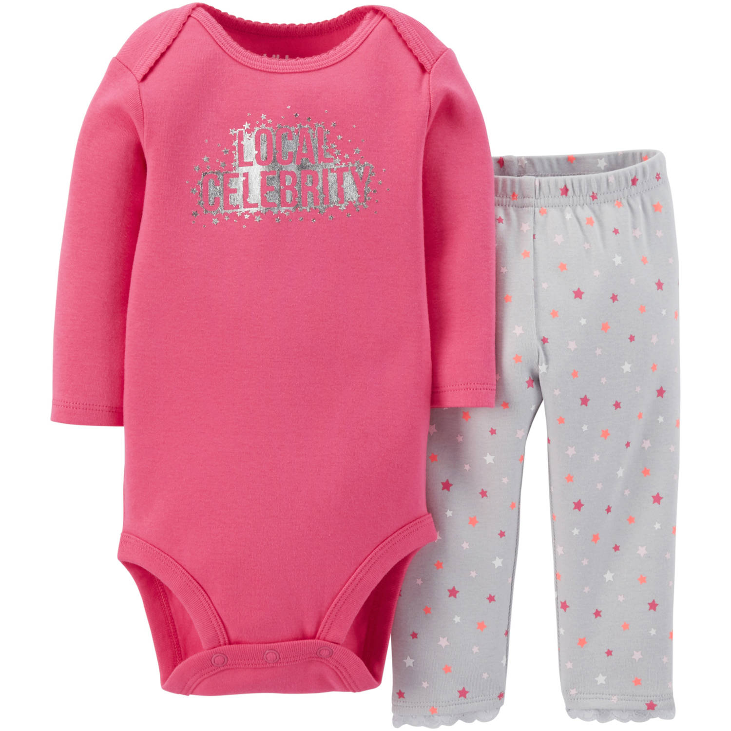 Child Of Mine By Carter's Newborn Baby Girl Bodysuit & Pants Outfit 2 Pc Set