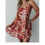 Sexy Dance Plus Size Boho Dress for Women Summer Casual Beach Holiday Sundress Sleeveless Evening Party Loose Swing Mini Dress