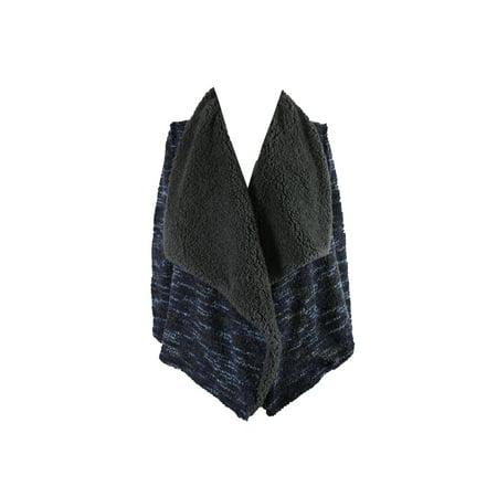 Vintage America Blue Multi Faux-Fur Open-Front Jacket L ()