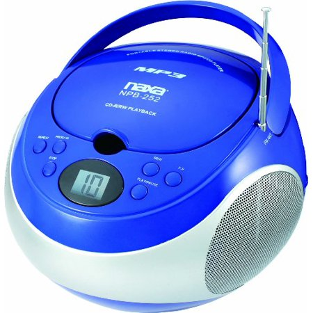 Naxa Portable CD/MP3 Player with AM/FM Stereo, Blue, NPB252