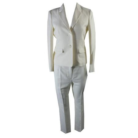 Le Suit Petite Ivory Tonal Tweed Pantsuit  6P (Petite Suits 6p)
