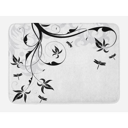 Dragonfly Bath Mat, Swirled Floral Background with Damask Curl Branches and Leaves Print, Non-Slip Plush Mat Bathroom Kitchen Laundry Room Decor, 29.5 X 17.5 Inches, Pale Grey Black White, Ambesonne ()