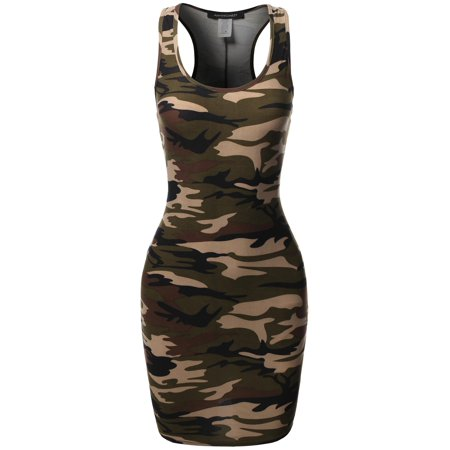 Front Denim Mini Dress - FashionOutfit Women's Floral or Camouflage Printed Sexy Body-Con Racer-Back Mini Dress