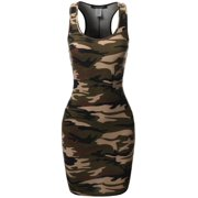 FashionOutfit Women's Floral or Camouflage Printed Sexy Body-Con Racer-Back Mini Dress