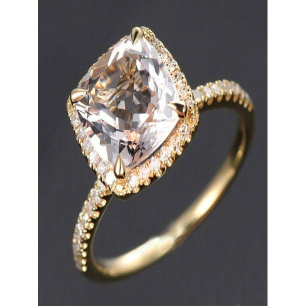 Diamond Rings For Sale Walmart: 1.50 Carat Cushion Cut Peach Pink Morganite
