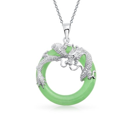 Jade Silver Necklace - Asian Style Dragon Round Open Circle Disc Dyed Green Jade Pendant 925 Sterling Silver Necklace For Women 18 Inch