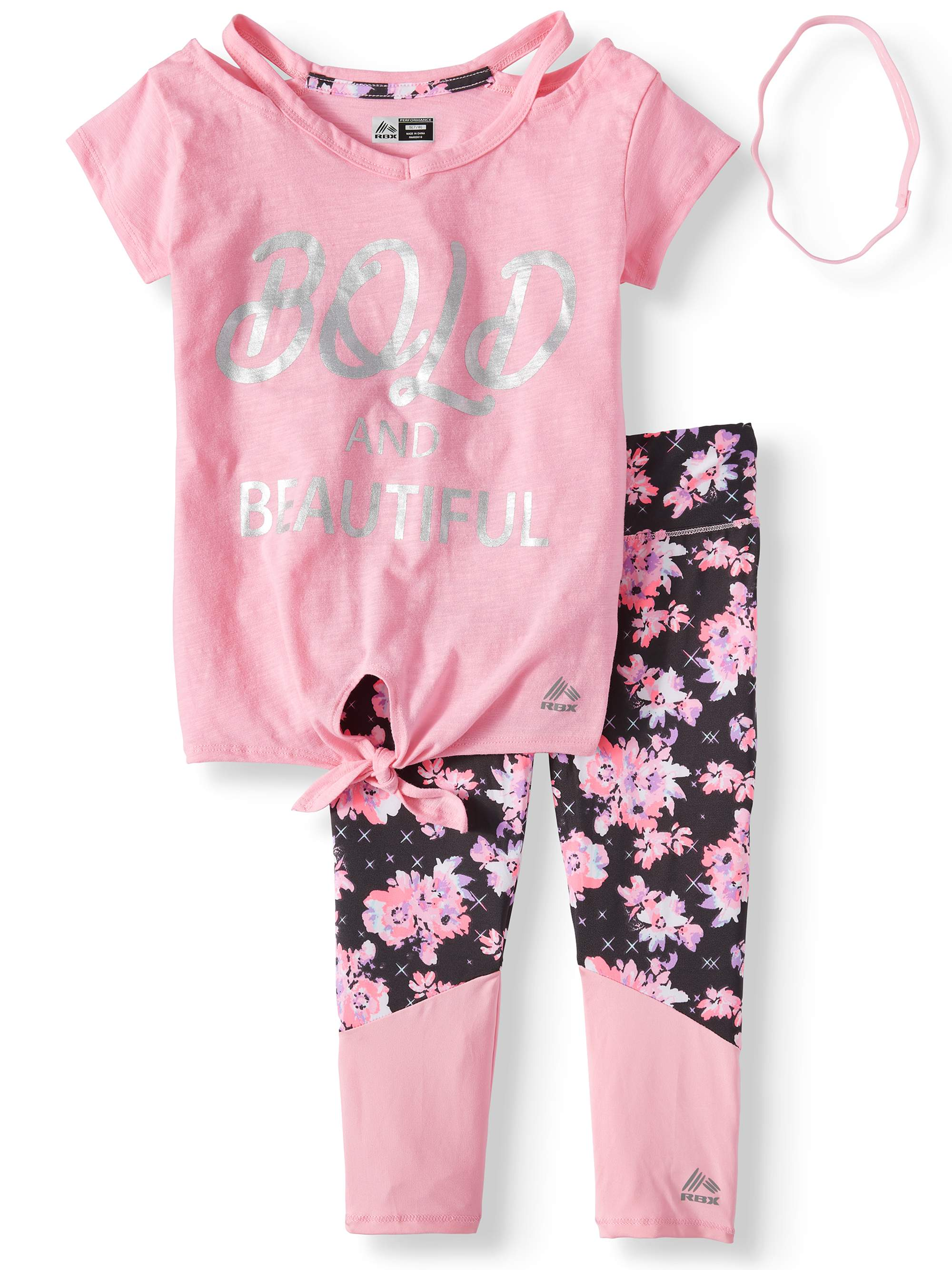 Foil Graphic Tie Front Top and Floral Performance Legging, 2-Piece Active Set (Little Girls & Big Girls)