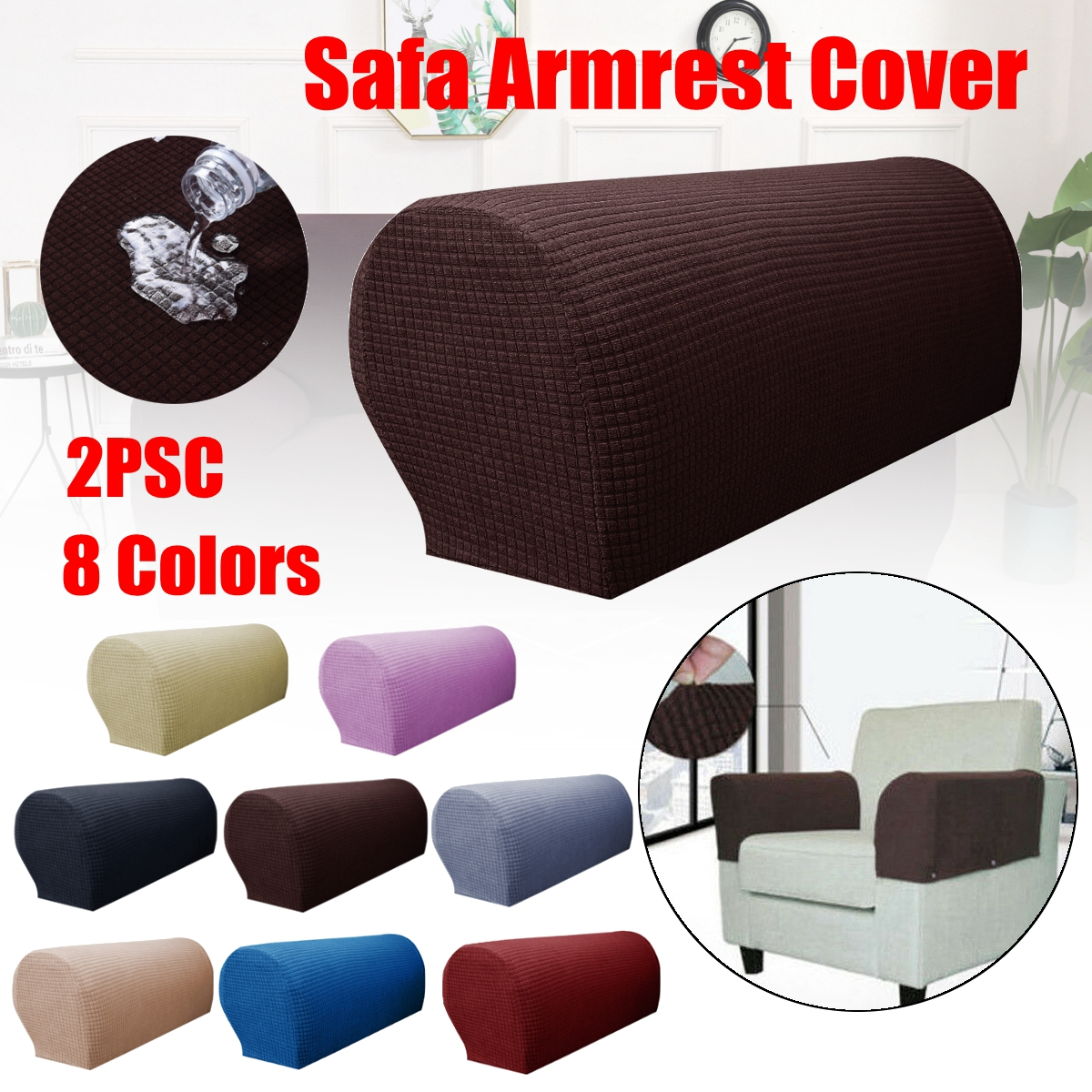 2PCS Premium Furniture Armrest Covers Sofa Couch Chair Arm Protectors Stretchy