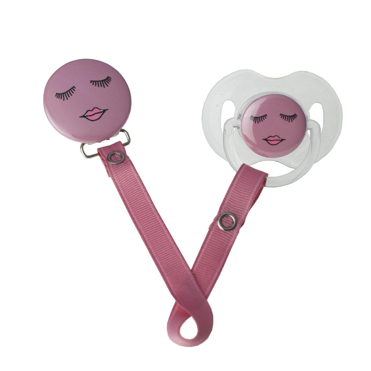 Eyes & Lip Pacifier & Clip Set