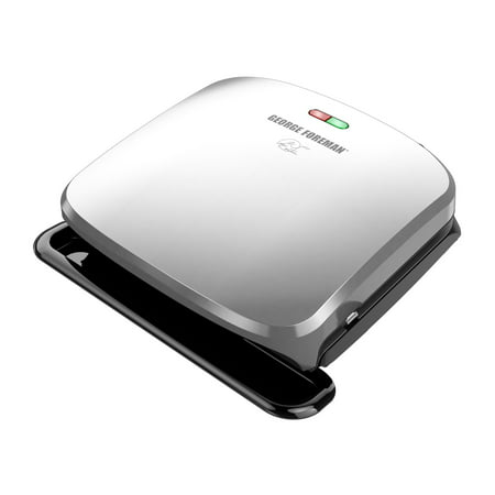 George Foreman 4-Serving Removable Plate Electric Indoor Grill and Panini Press, Platinum, GRP3060P for $<!---->