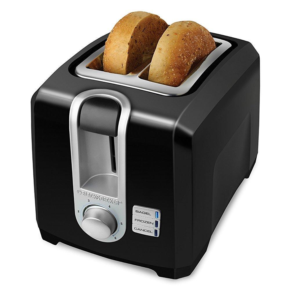 black+decker t2569b 2-slice toaster, bagel toaster, black