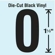 STRANCO INC DBV-1.5-0-10 Die Cut Number Label, 0, 10 Cards,PK10