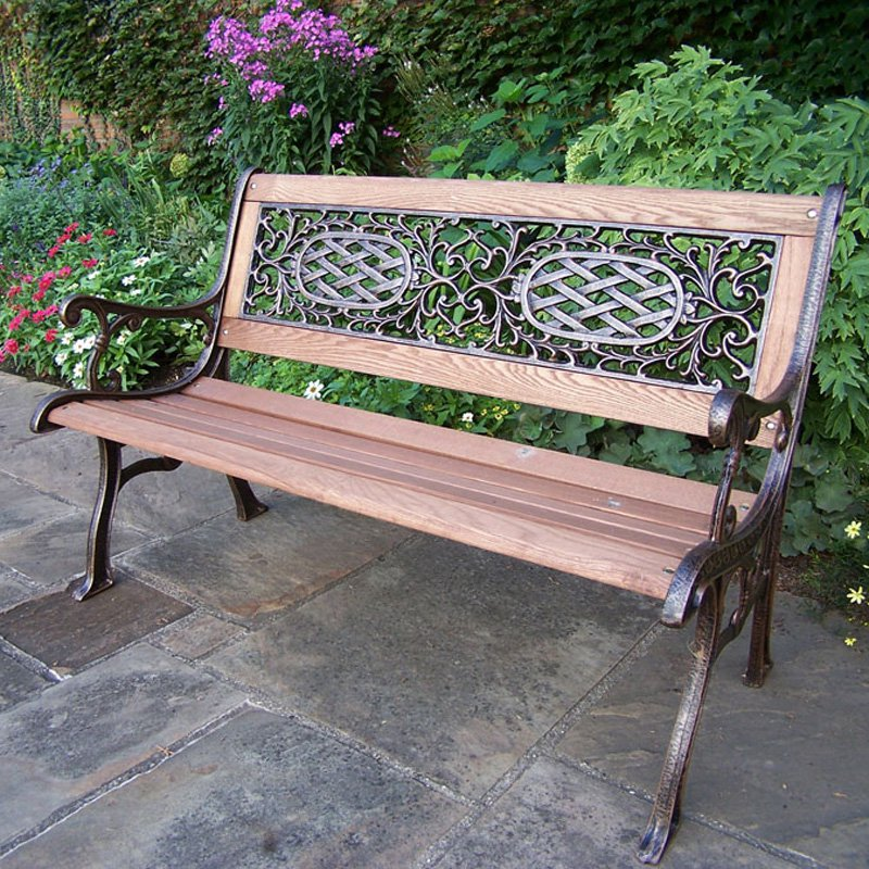 Oakland Living Mississippi Cast Iron and Wood Bench in Antique Bronze Finish
