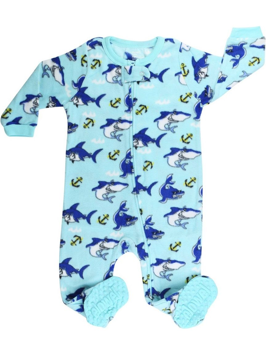 Elowel Little Boys Blue Shark Print Zipper Footed Fleece Sleeper Pajama