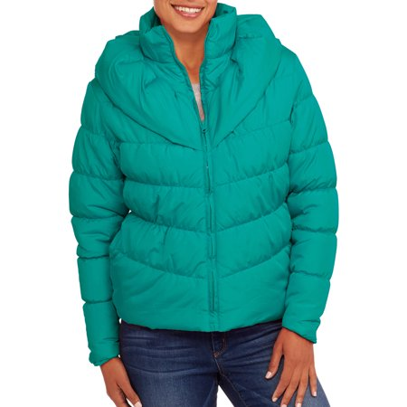 Climate Concepts Women's Puffer Coat with Shawl Collar