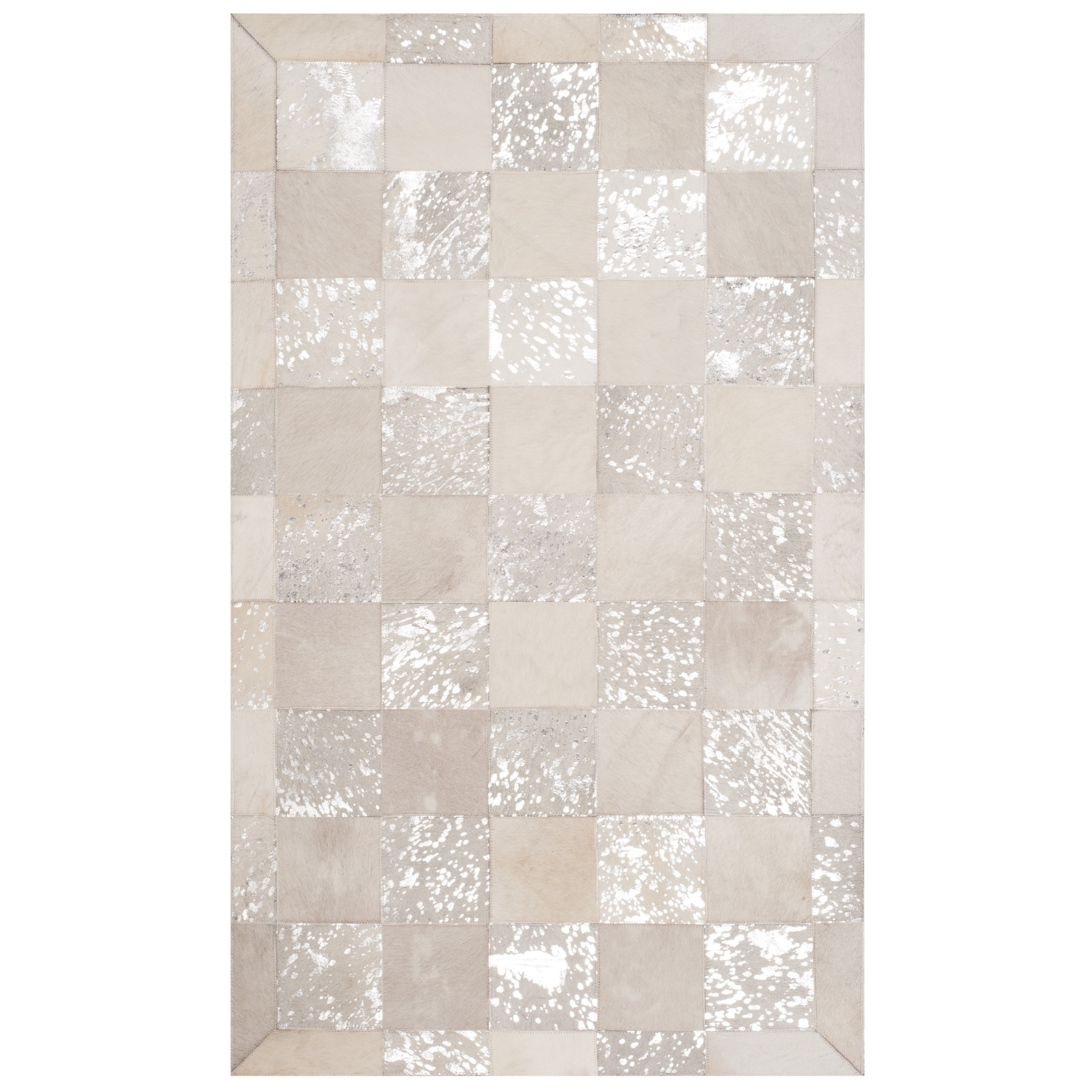 Safavieh  Studio Leather Hand-Woven Ivory/ Silver Leather Area Rug - 3' x 5'