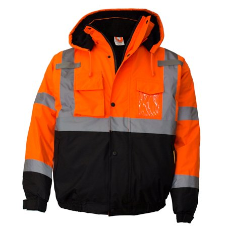 Men's ANSI Class 3 High Visibility Bomber Safety Jacket, Waterproof - Orange / Extra - Road Safety Jacket