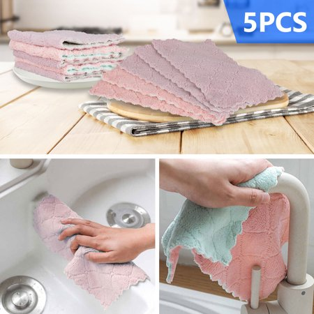 TSV 5/10PCS Kitchen Towels, Reusable Clean Antimicrobial Double-sided Thick Fiber Towels, Soft and Absorbent Multipurpose Dish Cloth, Hand Towel and Kitchen Glass Cars Cleaning (16x27cm/6x10 Inch)