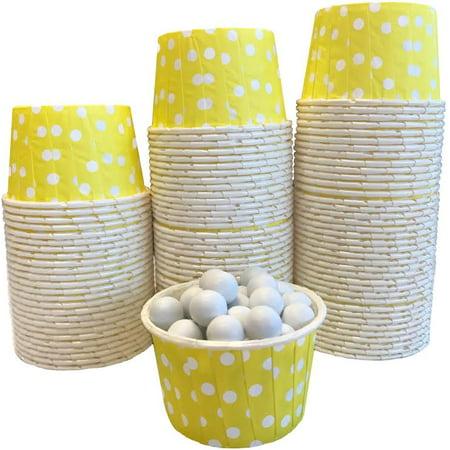 Bulk Pk 100 Yellow White Polka Dot Candy/Nut Mini Baking - Black And Yellow Cupcake Liners