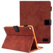 "Allytech New iPad Case 10.2 Inch, iPad 7th Generation 2019 Case, PU Leather Slim Fit Multi Angle Stand Smart Cover Auto Sleep Wake Shockproof Folio Flip Pencil Holder Case for Apple iPad 10.2"",Brown"