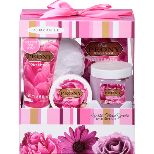 Aromanice Pink Peony Blossom Wild Floral Garden Bath Gift Set, 5 pc