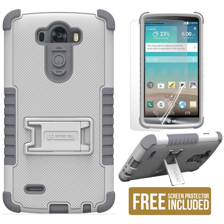WHITE GRAY TRI-SHIELD SOFT SKIN HARD CASE STAND SCREEN PROTECTOR FOR LG G3 PHONE