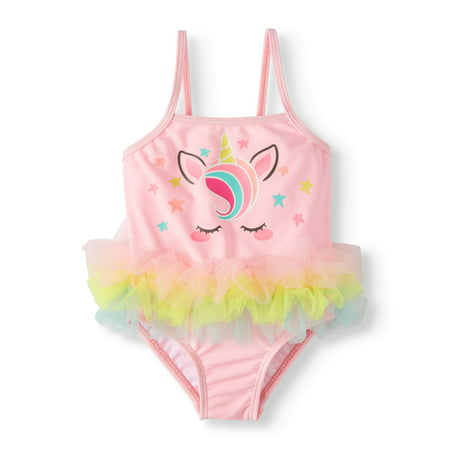 Wonder Nation Unicorn Tutu One-Piece Swimsuit (Baby Girls)
