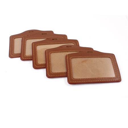 Unique Bargains Brown Faux Leather Business Officer Bank ID Badge Card Holder (Special Officer Badge)