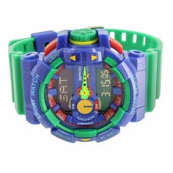Shock Resistant Green Blue Watch Mens Funky Limited Edition Sport Series Wris