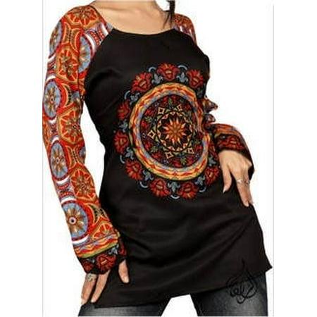 Beautiful Women Tops, Indian Kurti Tunic, Kurta Sale :  MANDALA | BLACK | Christmas | Bust Size 44