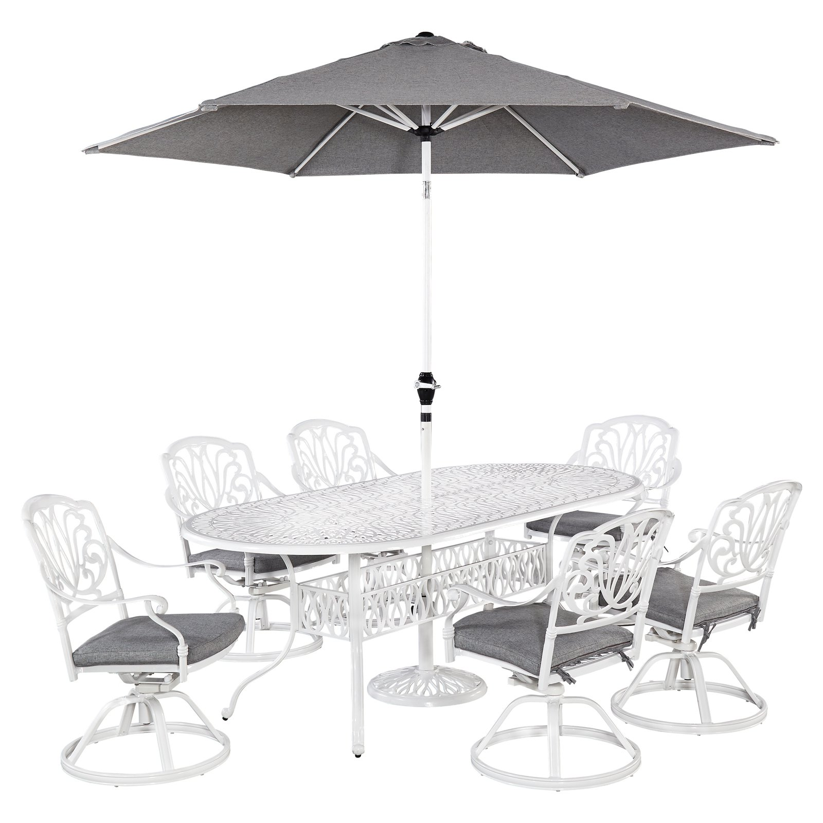 Home Styles Floral Blossom White 7pc Outdoor Dining Set with Oval Table and 6 Swivel Chairs