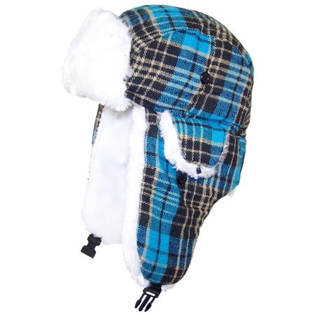 Best Winter Hats Big Kids Quality Tartan Plaid Russian/Trapper Hat W/Faux Fur (One Size) -