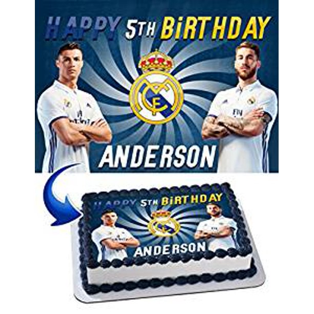 Enjoyable Real Madrid Cristiano Ronaldo Sergio Ramos Birthday Cake Funny Birthday Cards Online Elaedamsfinfo