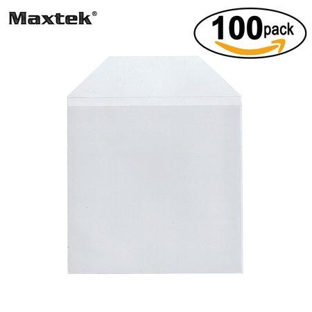 Transparent Plastic Sleeve (Maxtek 100 Pieces Clear Transparent CPP Plastic CD DVD Sleeves Envelope Holder, 100 micron)