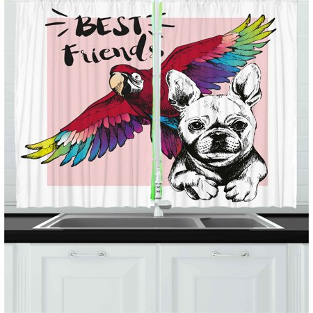 Modern Curtains 2 Panels Set, French Bulldog and Tropical Parrot Figure with Best Friends Phrase Portrait Design, Window Drapes for Living Room Bedroom, 55W X 39L Inches, Multicolor, by