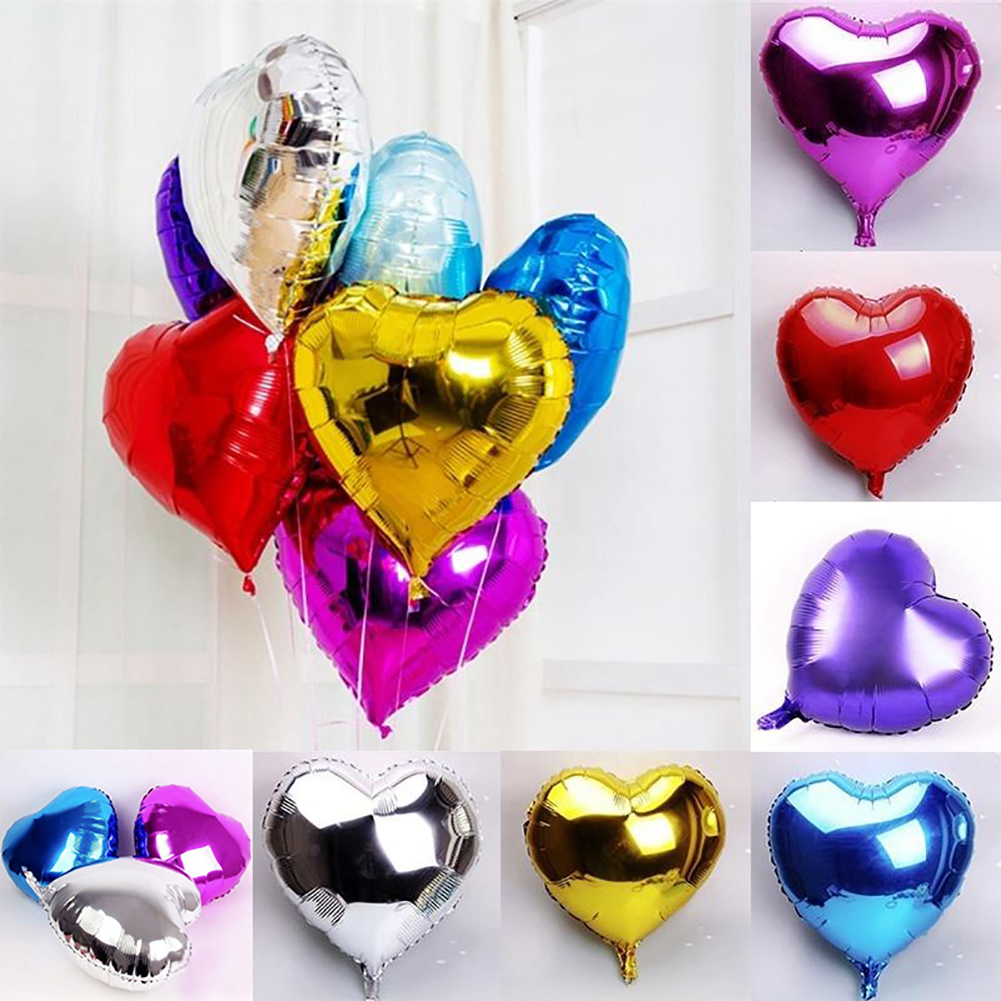 HiCoup 18in Reusable Shiny Heart Foil Balloons Valentine Wedding Engagement Party Decor