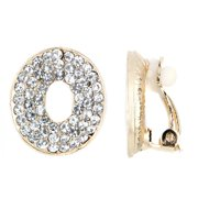 Emitations Gold Color Rhinestone Oval Clip On Earrings