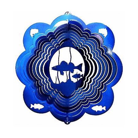 "12"" Wind Spinner Fish Blue Walleye Fishing Fisherman Garden Art Decor Hanging thumbnail"
