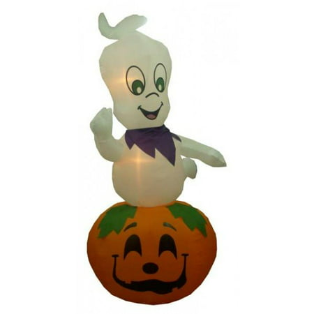 Ghost On Halloween (9' Airblown Inflatable Ghost on Pumpkin Lighted Halloween Yard Art)