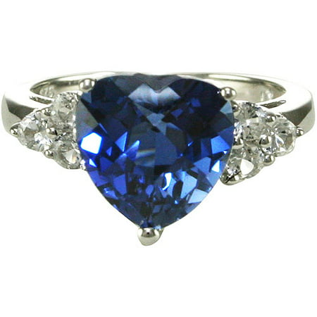 Created Blue Sapphire Heart With Created White Sapphire Accents crafted in Sterling Silver Ring, size 7